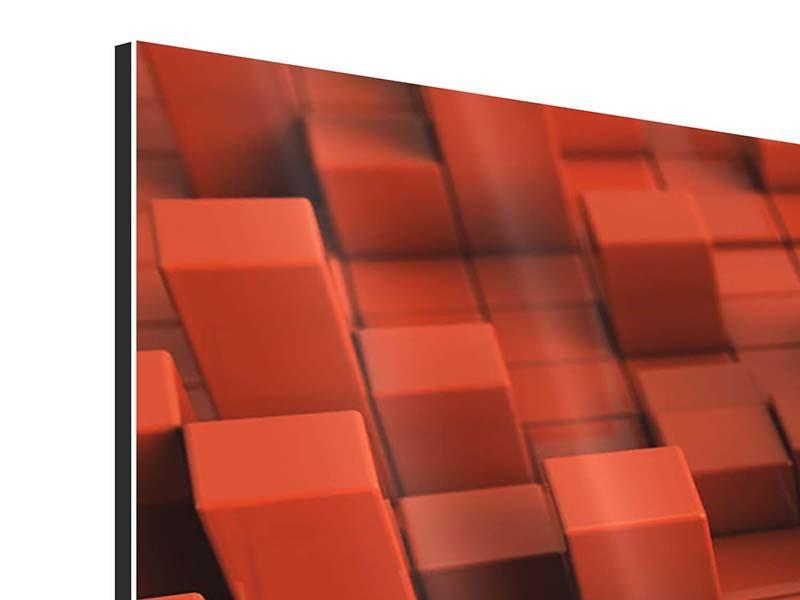 Aluminiumbild 4-teilig modern 3D-Rechtkant