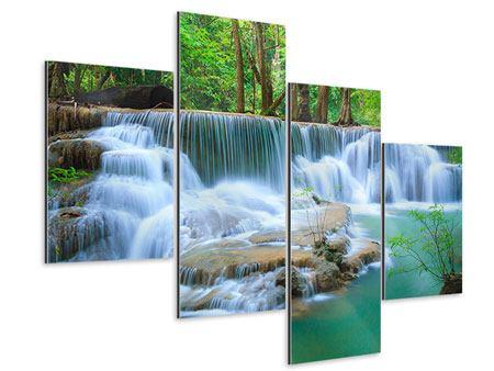 Aluminiumbild 4-teilig modern Kaskaden Huay Mae Khamin