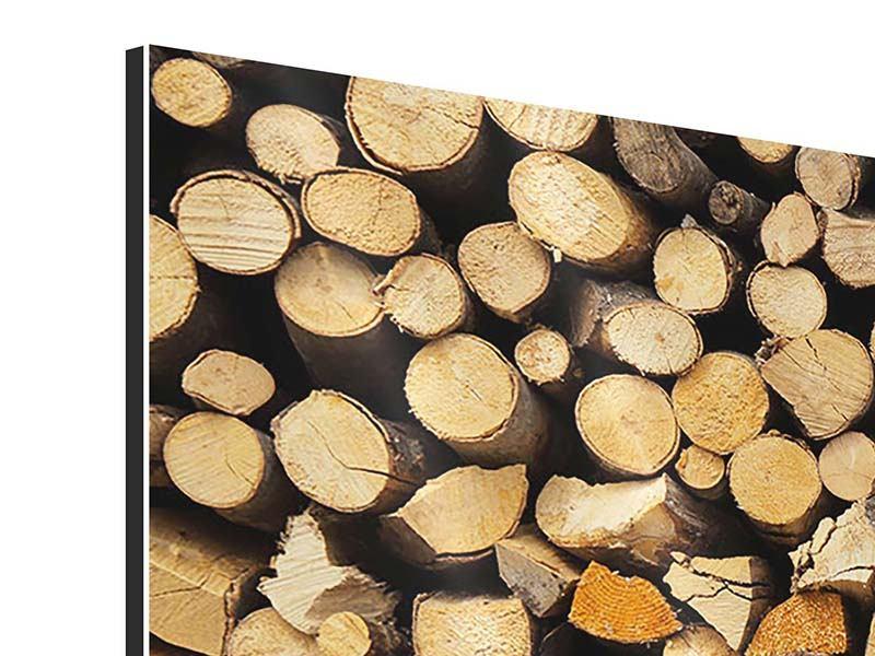 Aluminiumbild 4-teilig modern Brennholz