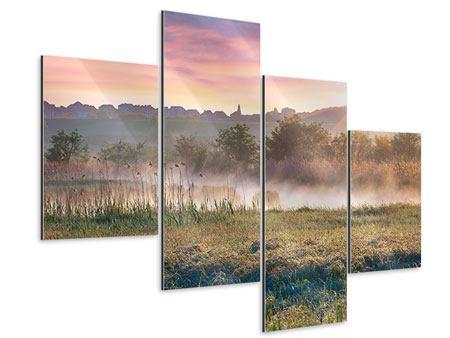 Aluminiumbild 4-teilig modern Sonnenuntergang am Hügel