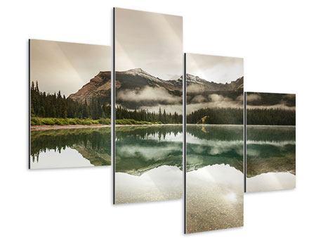 Aluminiumbild 4-teilig modern Spiegelung im Glacier Nationalpark