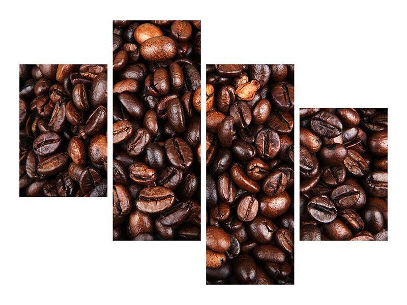 Aluminiumbild 4-teilig modern Kaffeebohnen in XXL