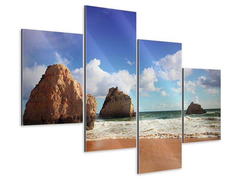 Aluminiumbild 4-teilig modern Strandgedanken