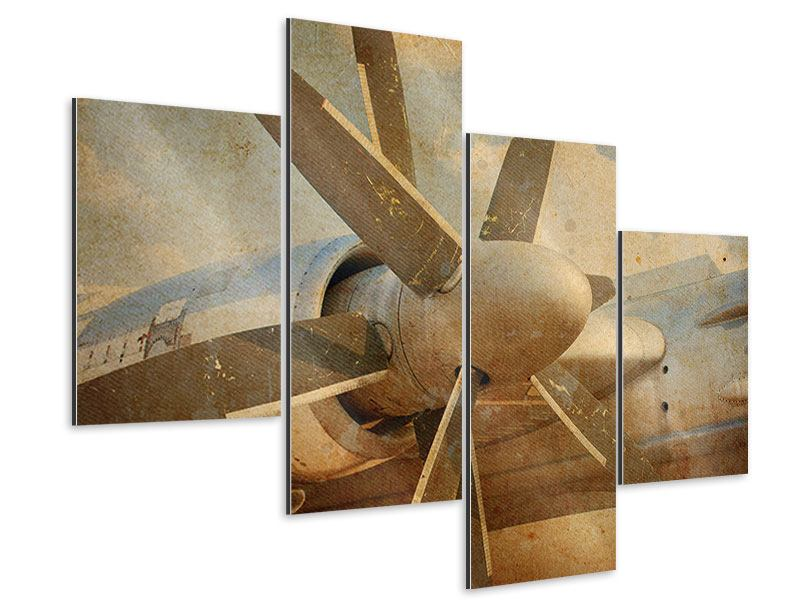 Aluminiumbild 4-teilig modern Propellerflugzeug im Grungestil