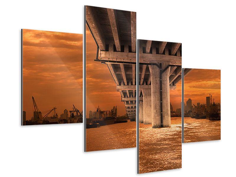 Aluminiumbild 4-teilig modern Die Brücke