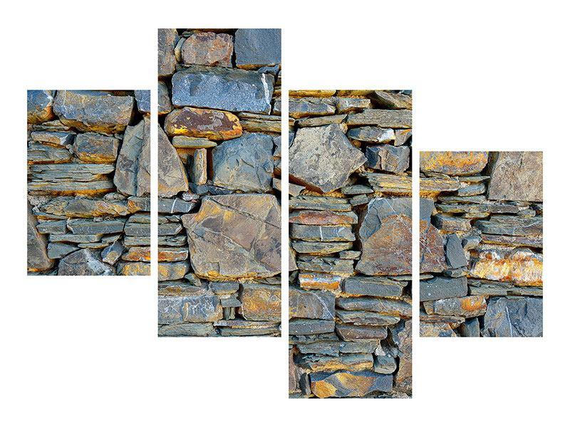 Aluminiumbild 4-teilig modern Natürliche Steinmauer