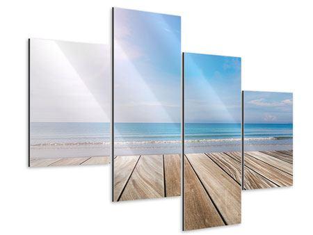 Aluminiumbild 4-teilig modern Das schöne Strandhaus