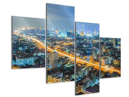 Aluminiumbild 4-teilig modern Skyline Bangkok im Fieber der Nacht