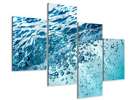 Aluminiumbild 4-teilig modern Wasser in Bewegung