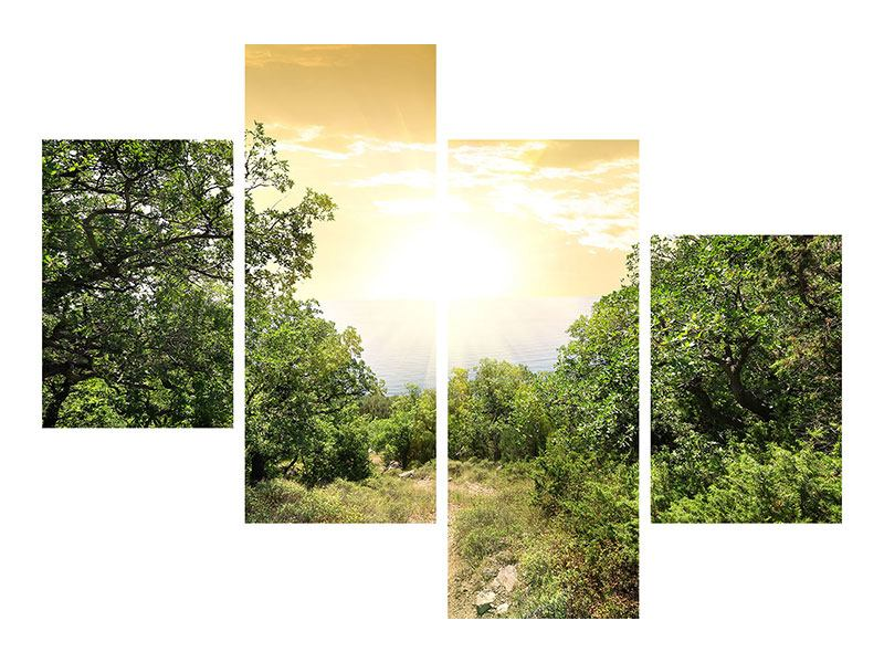 Aluminiumbild 4-teilig modern Am Ende des Waldes