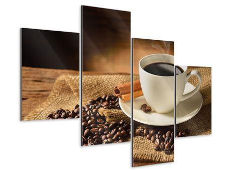 Aluminiumbild 4-teilig modern Kaffeepause