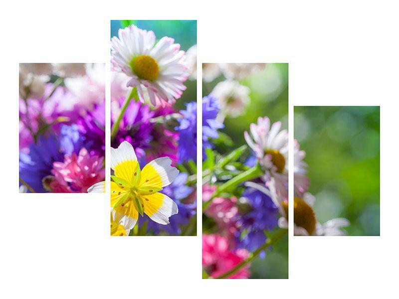 Aluminiumbild 4-teilig modern XXL Gartenblumen