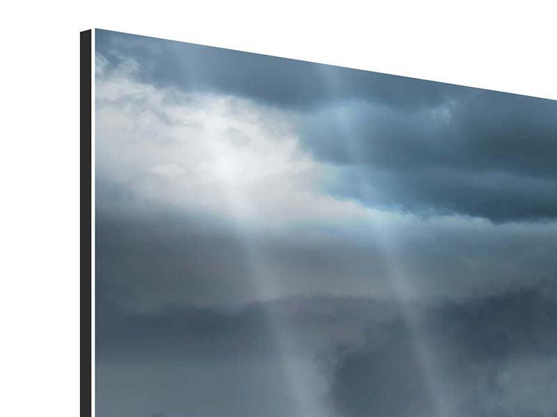 Aluminiumbild 4-teilig modern Silberstreifen