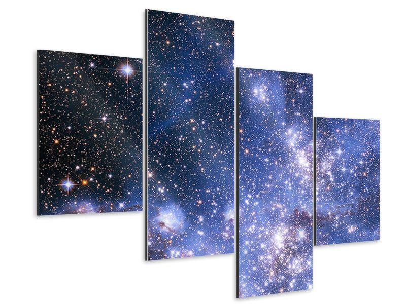 Aluminiumbild 4-teilig modern Sternenhimmel