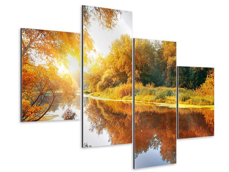 Aluminiumbild 4-teilig modern Waldspiegelung im Wasser