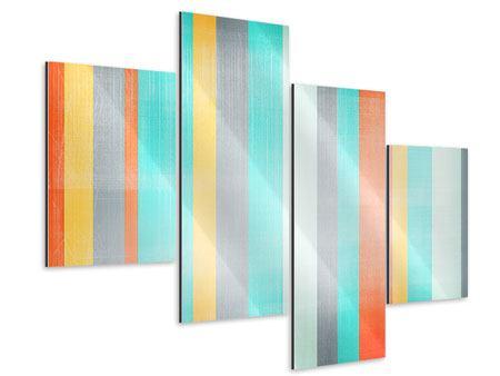 Aluminiumbild 4-teilig modern Grunge Streifen