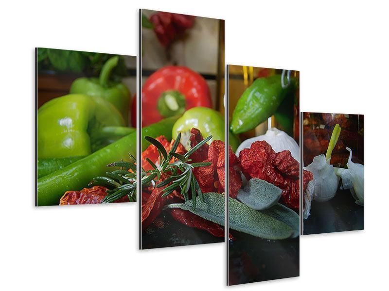 Aluminiumbild 4-teilig modern Mediterranes Gemüse