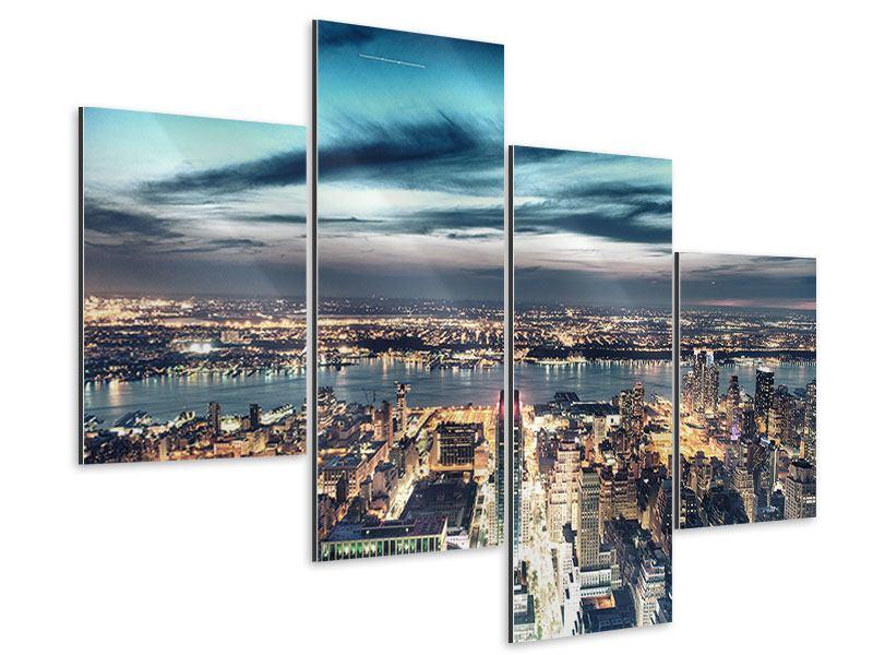 Aluminiumbild 4-teilig modern Skyline Manhattan Citylights