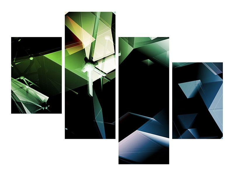 Aluminiumbild 4-teilig modern 3D-Polygon