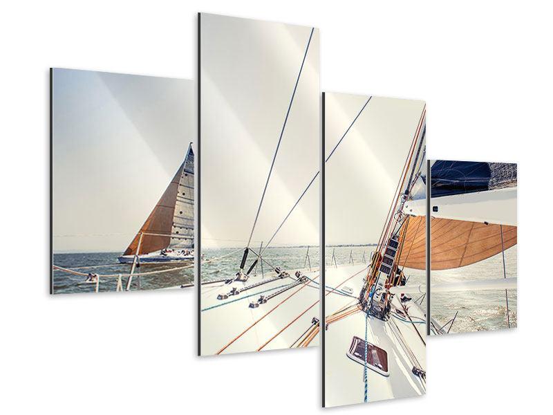 Aluminiumbild 4-teilig modern Segelyacht