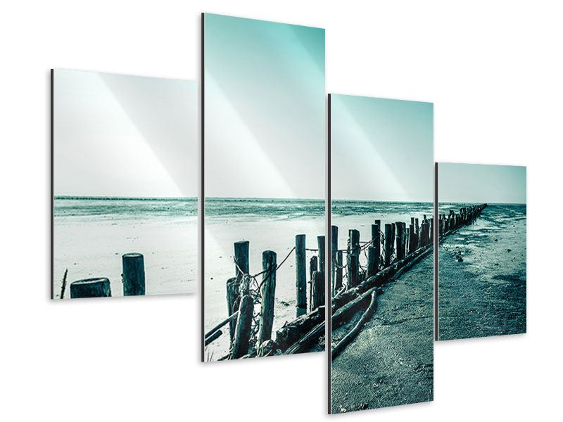 Aluminiumbild 4-teilig modern Das Wattenmeer