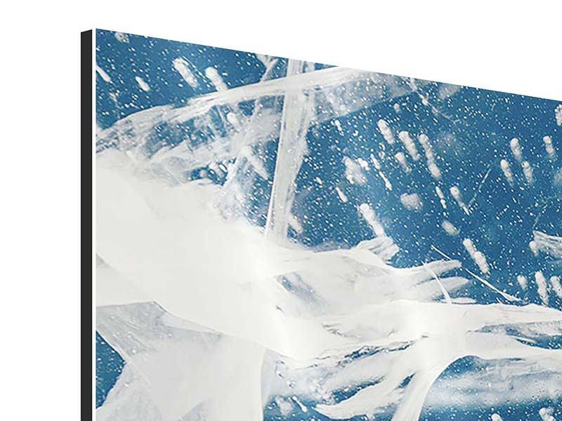Aluminiumbild 4-teilig modern Eiskristalle
