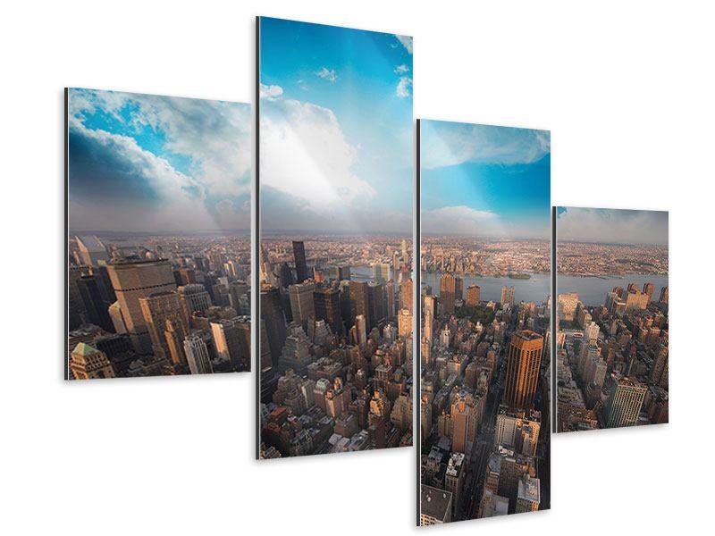 Aluminiumbild 4-teilig modern Skyline Über den Dächern von Manhattan