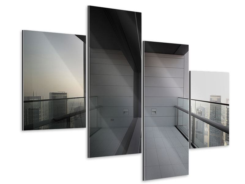 Aluminiumbild 4-teilig modern Balkon in Dubai
