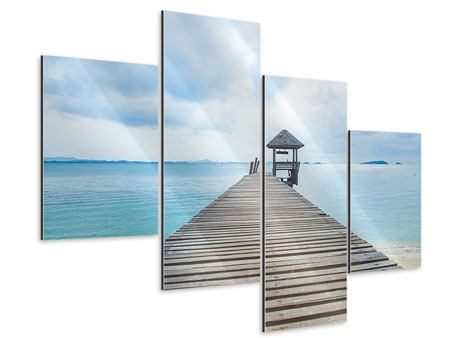 Aluminiumbild 4-teilig modern Ozean-Steg