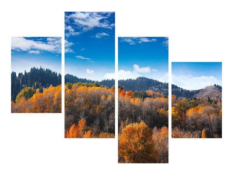 Aluminiumbild 4-teilig modern Wolken ziehen auf