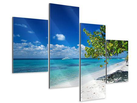Aluminiumbild 4-teilig modern Happy Beach