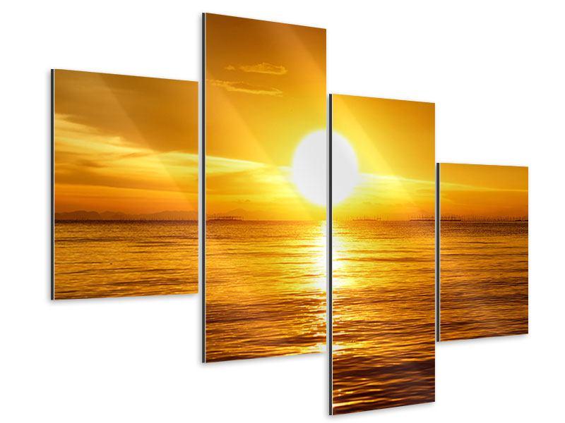 Aluminiumbild 4-teilig modern Traumhafter Sonnenuntergang