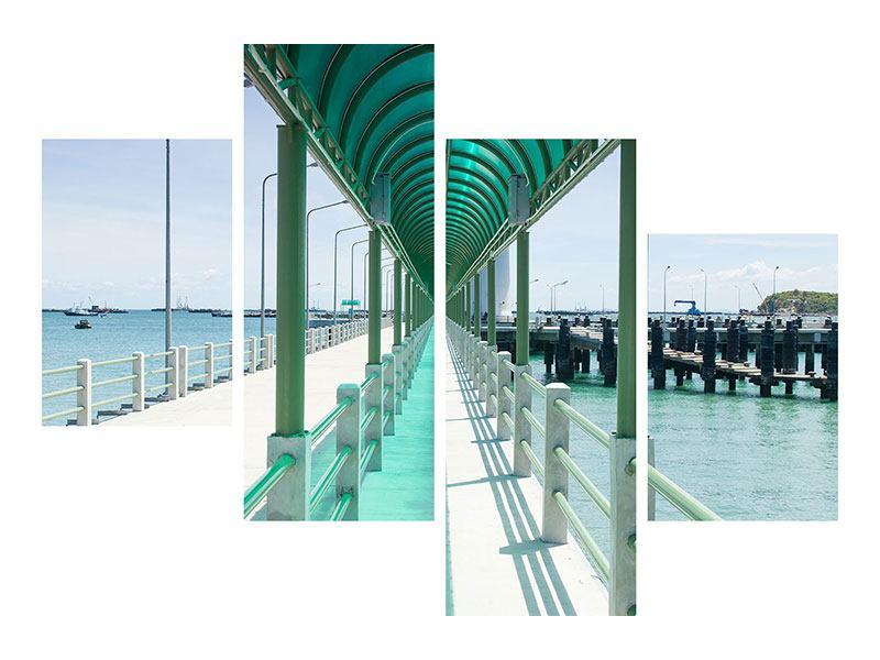 Aluminiumbild 4-teilig modern Die Brücke am Meer