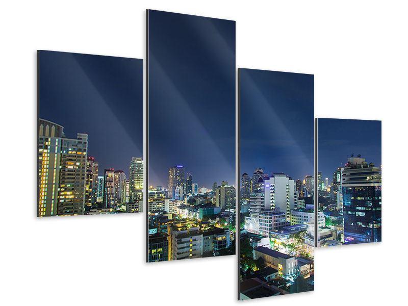 Aluminiumbild 4-teilig modern Skyline Nachts in Bangkok