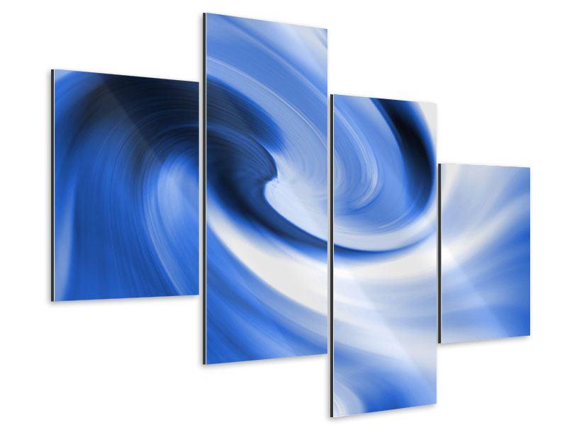 Aluminiumbild 4-teilig modern Abstrakte blaue Welle