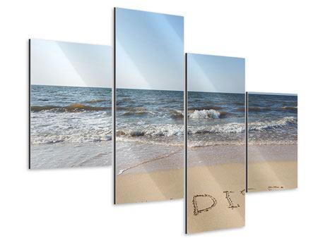 Aluminiumbild 4-teilig modern Sandspuren