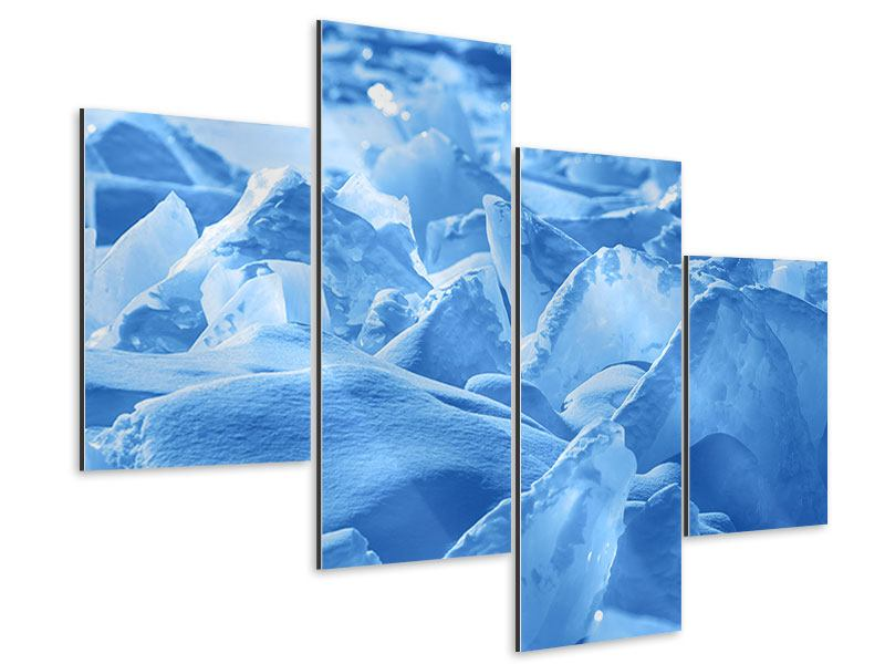 Aluminiumbild 4-teilig modern Eis des Baikalsees
