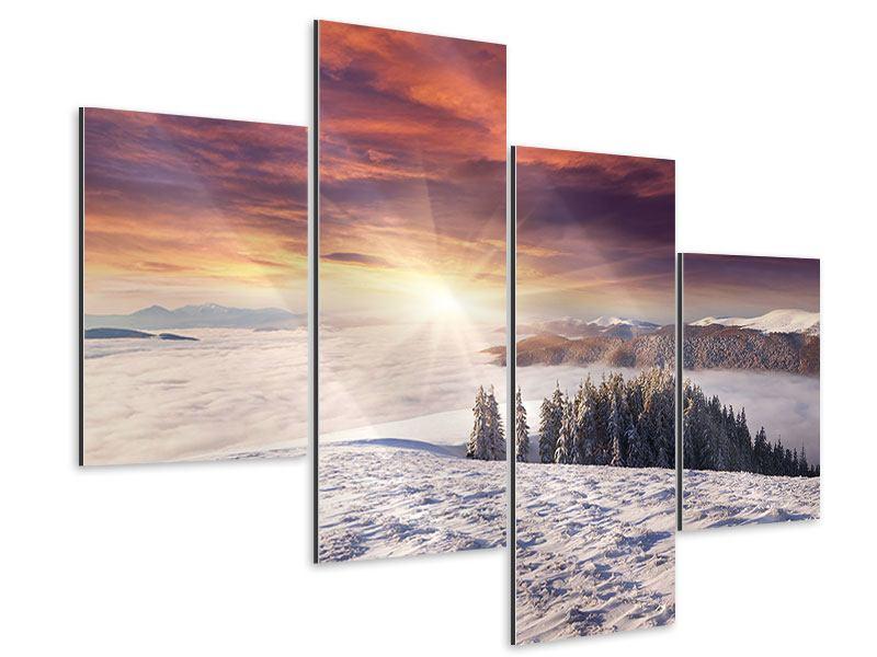 Aluminiumbild 4-teilig modern Sonnenaufgang Winterlandschaft