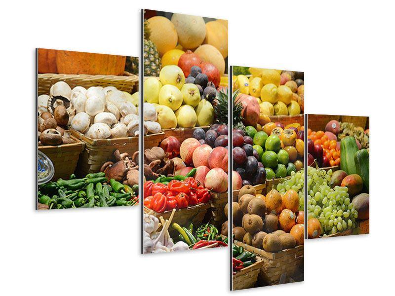 Aluminiumbild 4-teilig modern Obstmarkt