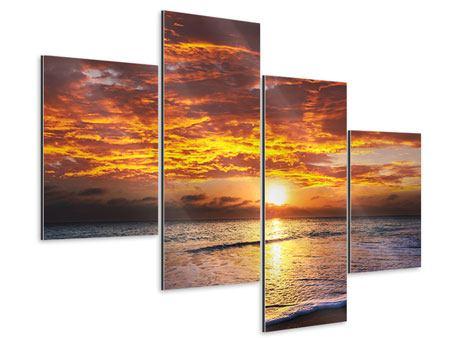 Aluminiumbild 4-teilig modern Entspannung am Meer