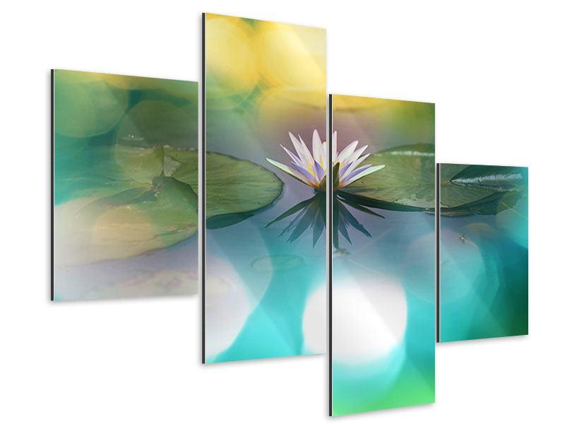 Aluminiumbild 4-teilig modern Lotus-Spiegelung