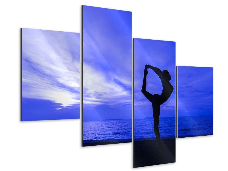 Aluminiumbild 4-teilig modern Yogaübung am Strand