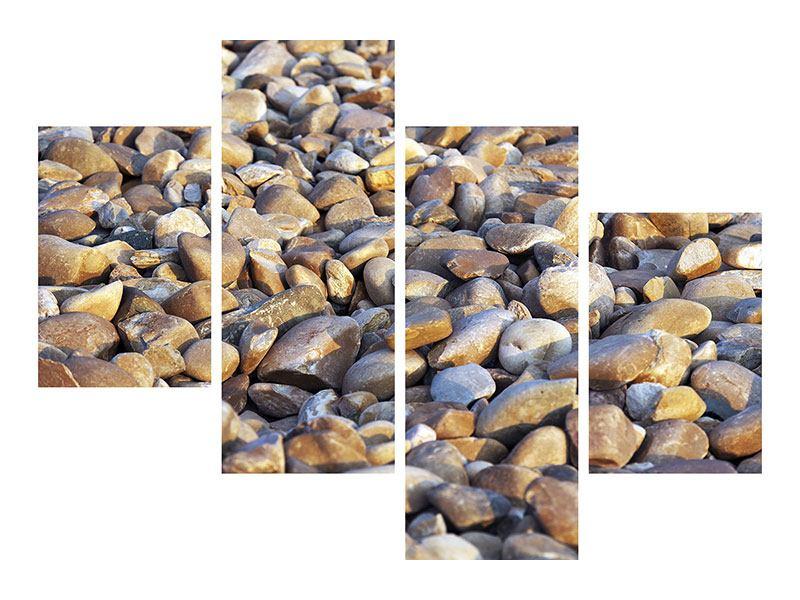 Aluminiumbild 4-teilig modern Strandsteine