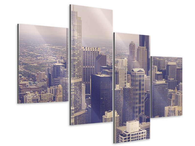 Aluminiumbild 4-teilig modern Skyline Chicago in Sepia