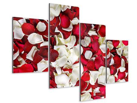 Aluminiumbild 4-teilig modern Rosenblätter