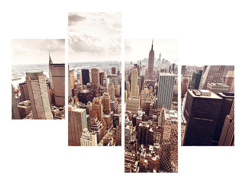 Aluminiumbild 4-teilig modern Skyline Über den Dächern Manhattans