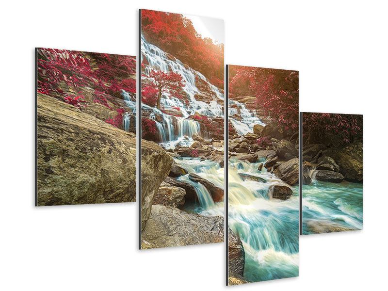 Aluminiumbild 4-teilig modern Exotischer Wasserfall