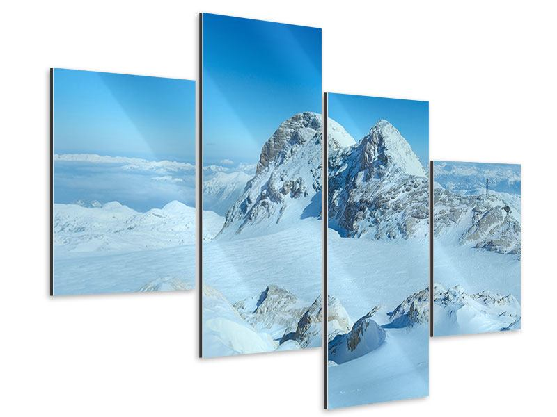 Aluminiumbild 4-teilig modern Über den Wolken