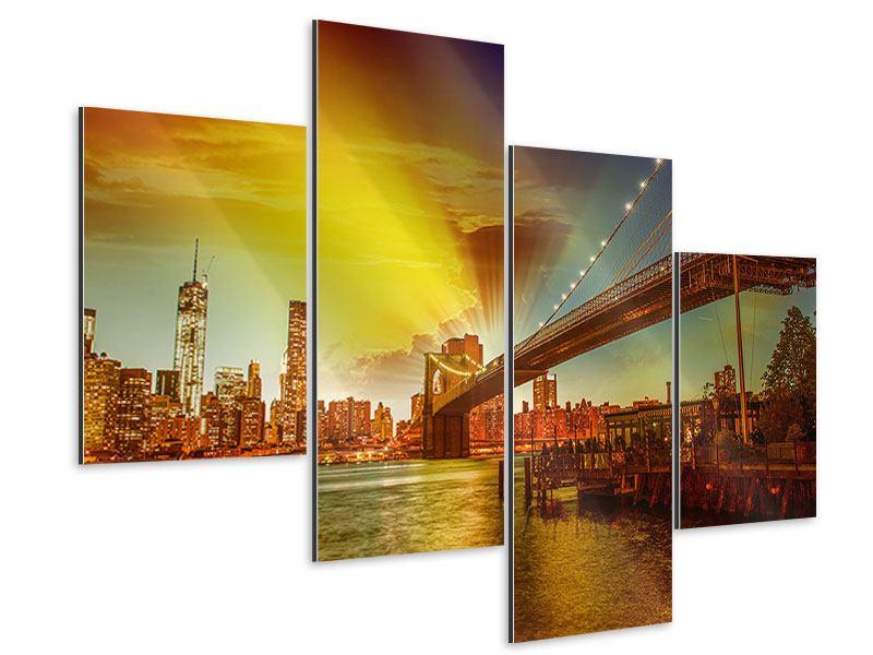 Aluminiumbild 4-teilig modern Skyline Brooklyn Bridge NY