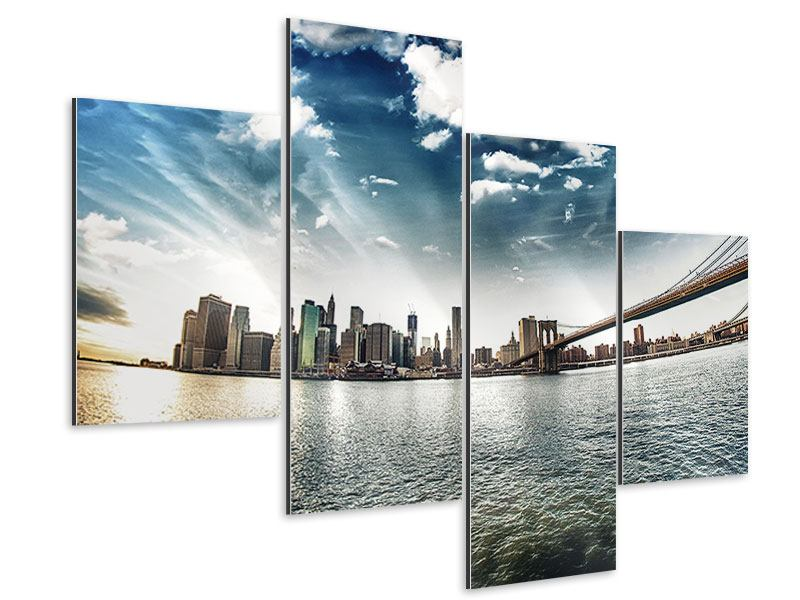Aluminiumbild 4-teilig modern Brooklyn Bridge From The Other Side